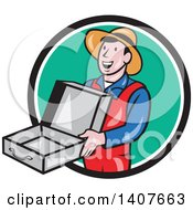 Clipart Of A Retro Cartoon Man Wearing A Hat And Overalls Smiling And Holding An Empty Open Suitcase Royalty Free Vector Illustration