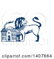 Clipart Of A Retro Blue And White Male Lion Resting A Paw On A House Royalty Free Vector Illustration