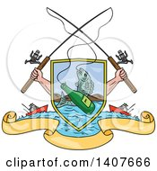 Clipart Of Sketched Crossed Arms Holding Fishing Rods Over A Shield With A Marlin Fish And Beer Bottle Over Water Ships And Banners Royalty Free Vector Illustration by patrimonio