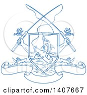 Clipart Of Blue Sketched Crossed Arms Holding Fishing Rods Over A Shield With A Marlin Fish And Beer Bottle Over Water Ships And Banners Royalty Free Vector Illustration