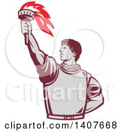 Clipart Of A Retro Spanish Conquistador Holding Up A Torch Royalty Free Vector Illustration