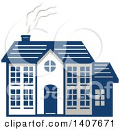Clipart Of A Retro Home Facade With Smoke Rising From The Chimney Royalty Free Vector Illustration