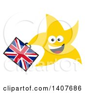 Clipart Of A Flat Design Brexit Happy Star Running With A Union Jack Briefcase Royalty Free Vector Illustration