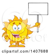 Clipart Of A Yellow Summer Time Sun Character Mascot Holding Up A Blank Sign Royalty Free Vector Illustration