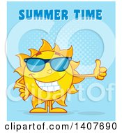 Clipart Of A Yellow Summer Time Sun Character Mascot Giving A Thumb Up Over Blue Royalty Free Vector Illustration