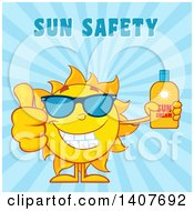 Clipart Of A Yellow Summer Time Sun Character Mascot Giving A Thumb Up And Holding A Bottle Of Lotion On Blue Royalty Free Vector Illustration
