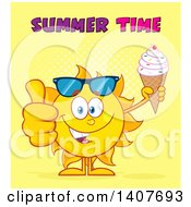 Clipart Of A Yellow Summer Time Sun Character Mascot Holding A Waffle Ice Cream Cone And Giving A Thumb Up On Yellow Royalty Free Vector Illustration