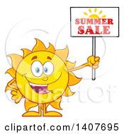Clipart Of A Yellow Summer Time Sun Character Mascot Holding Up A Sale Sign Royalty Free Vector Illustration