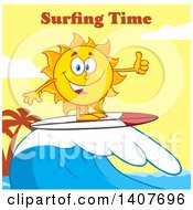Clipart Of A Yellow Summer Time Sun Character Mascot Surfing And Giving A Thumb Up Against A Yellow Sunset And Surfing Time Text Royalty Free Vector Illustration