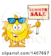 Clipart Of A Yellow Summer Time Sun Character Mascot Holding Up A Wood Sale Sign Royalty Free Vector Illustration