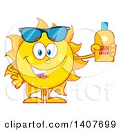 Yellow Summer Time Sun Character Mascot Holding A Bottle Of Lotion