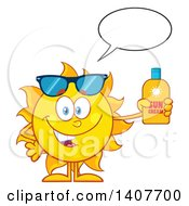 Clipart Of A Yellow Summer Time Sun Character Mascot Talking And Holding A Bottle Of Lotion Royalty Free Vector Illustration by Hit Toon