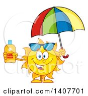 Clipart Of A Yellow Summer Time Sun Character Mascot Holding An Umbrella And A Bottle Of Lotion Royalty Free Vector Illustration