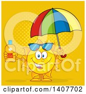 Clipart Of A Yellow Summer Time Sun Character Mascot Holding An Umbrella And A Bottle Of Lotion Over Orange Royalty Free Vector Illustration