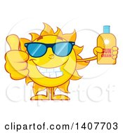 Clipart Of A Yellow Summer Time Sun Character Mascot Giving A Thumb Up And Holding A Bottle Of Lotion Royalty Free Vector Illustration