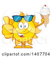 Clipart Of A Yellow Summer Time Sun Character Mascot Holding A Waffle Ice Cream Cone And Giving A Thumb Up Royalty Free Vector Illustration