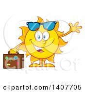 Clipart Of A Yellow Summer Time Sun Character Mascot Waving And Holding A Suitcase Royalty Free Vector Illustration