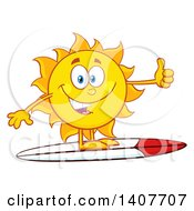 Clipart Of A Yellow Summer Time Sun Character Mascot Surfing And Giving A Thumb Up Royalty Free Vector Illustration