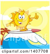 Clipart Of A Yellow Summer Time Sun Character Mascot Surfing And Giving A Thumb Up Against A Yellow Sunset Royalty Free Vector Illustration