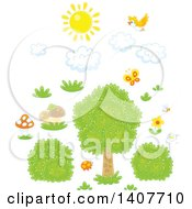 Clipart Of A Yellow Bird And Sun With Clouds Over Grass Mushrooms Shrubs And A Tree Royalty Free Vector Illustration by Alex Bannykh