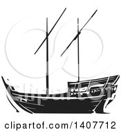 Clipart Of A Black And White Woodcut Dhow Ship Royalty Free Vector Illustration