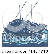 Clipart Of A Blue Woodcut Dhow Ship Crowded With Refugees On The Ocean Royalty Free Vector Illustration