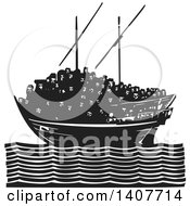 Clipart Of A Black And White Woodcut Dhow Ship Crowded With Refugees On A Calm Ocean Royalty Free Vector Illustration