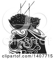 Clipart Of A Black And White Woodcut Dhow Ship Crowded With Refugees On A Stormy Ocean Royalty Free Vector Illustration