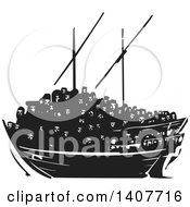 Clipart Of A Black And White Woodcut Dhow Ship Crowded With Refugees Royalty Free Vector Illustration