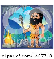 Clipart Of A Caveman Holding A Stone Spear And Rock By A Fire In Cave Royalty Free Vector Illustration by visekart