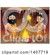 Clipart Of A Caveman And Woman By A Fire In A Cave Royalty Free Vector Illustration