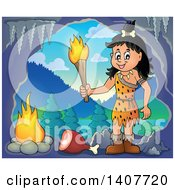 Clipart Of A Cavewoman Holding A Torch Over Meat And A Fire In A Cave Royalty Free Vector Illustration