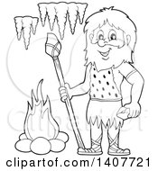 Clipart Of A Black And White Lineart Caveman Holding A Stone Spear And Rock Royalty Free Vector Illustration by visekart