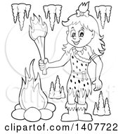 Clipart Of A Black And White Lineart Cavewoman Holding A Torch Royalty Free Vector Illustration