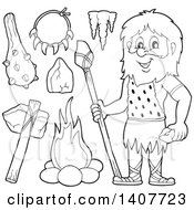 Clipart Of A Black And White Lineart Caveman And Accessories Royalty Free Vector Illustration by visekart