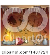 Clipart Of A Caveman Cave With Petroglyphs Meat A Club And Fire Royalty Free Vector Illustration by visekart
