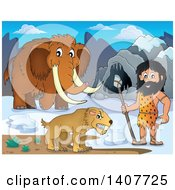 Clipart Of A Caveman Holding A Stone Spear By A Cave Woolly Mammoth And Saber Toothed Cat Royalty Free Vector Illustration by visekart