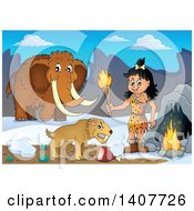 Clipart Of A Cavewoman Holding A Torch By A Cave Saber Toothed Cat And Woolly Mammoth Royalty Free Vector Illustration