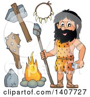 Clipart Of A Caveman And Accessories Royalty Free Vector Illustration by visekart