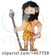 Clipart Of A Caveman Holding A Stone Spear And Rock Royalty Free Vector Illustration by visekart