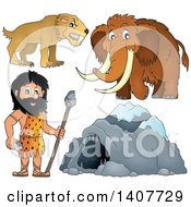 Clipart Of A Caveman Cave Woolly Mammoth And Saber Toothed Cat Royalty Free Vector Illustration by visekart