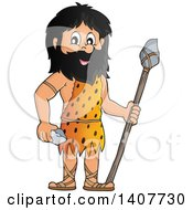 Clipart Of A Caveman Holding A Stone Spear And Rock Royalty Free Vector Illustration