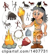 Clipart Of A Cavewoman Holding A Torch Petroglyph And Accessories Royalty Free Vector Illustration