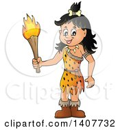 Clipart Of A Cavewoman Holding A Torch Royalty Free Vector Illustration