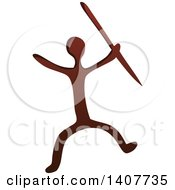 Clipart Of A Prehistoric Caveman Holding A Spear Petroglyph Royalty Free Vector Illustration by visekart