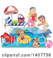 Royalty free vector clip art illustration of a digital collage of coloring page outlines of for Free clipart swimming pool party