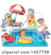 Clipart Of Children Foating On Inner Tubes And Swimming At A Pool Party Royalty Free Vector Illustration