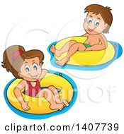 Clipart Of Children Foating On Inner Tubes Royalty Free Vector Illustration