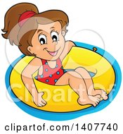 Clipart Of A Happy Brunette Caucasian Girl Floating On An Inner Tube Royalty Free Vector Illustration