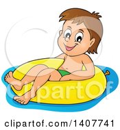 Clipart Of A Happy Brunette Caucasian Boy Floating On An Inner Tube Royalty Free Vector Illustration